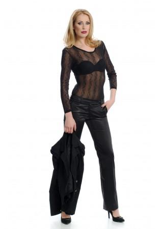 Дамско луксозно боди с тюлена дантела - черно