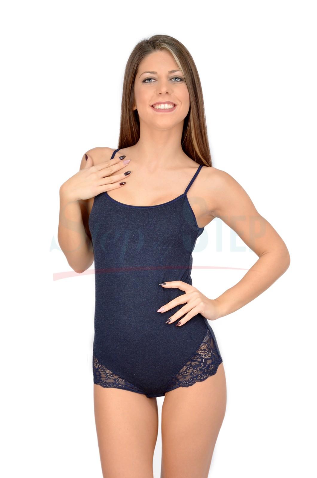 Дамско вълнено боди с тънка презрамка - тъмно-синьо