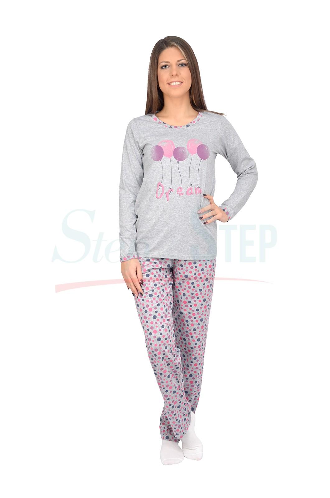Дамска памучна пижама в сиво с балони