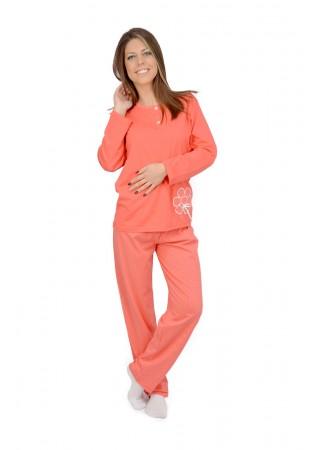 Дамска памучна пижама с бродерия