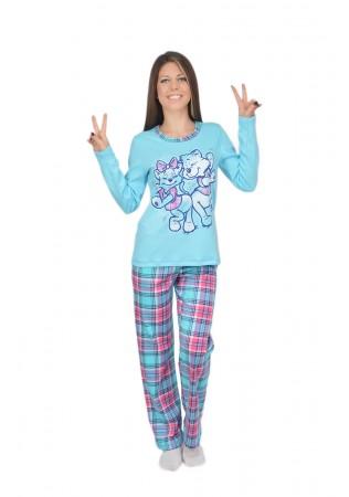 Дамска памучна пижама Cats-интерлог