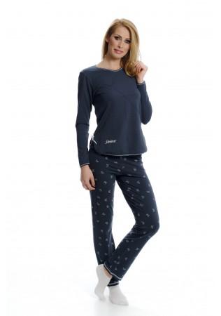 NEW Дамска памучна пижама Time to relax - сиво с панделки