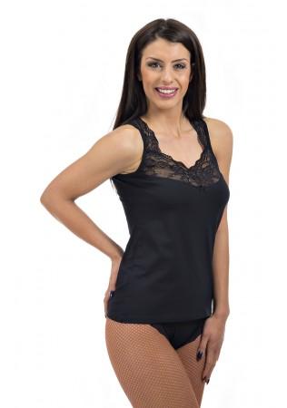 Комплект корсаж с дантелена презрамка и бикина-черно