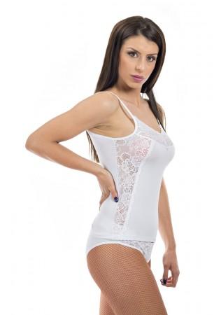 Комплект корсаж с дантела отстрани и бикини-бяло