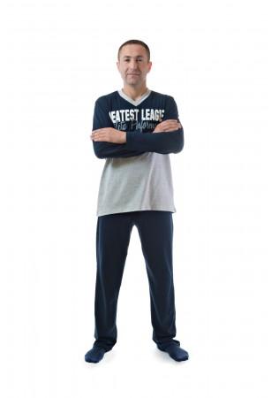 Мъжка памучна пижама Атлетик- в сиво