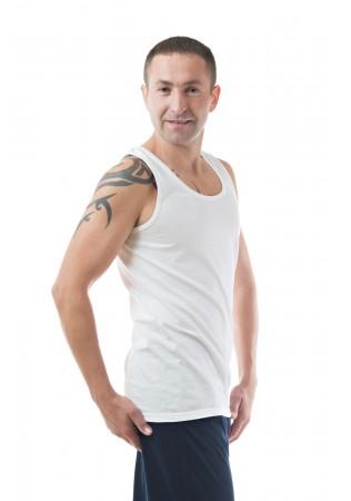 Мъжки памучен потник - бял