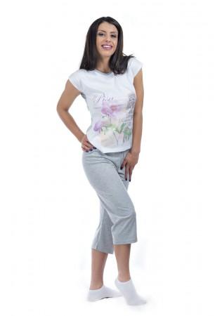 Дамска памучна лятна пижама Piza-в сиво