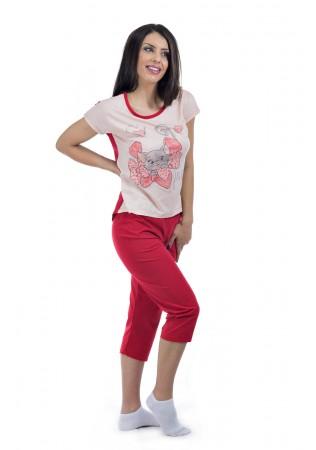 Дамска памучна лятна пижама Bonjour-в червено