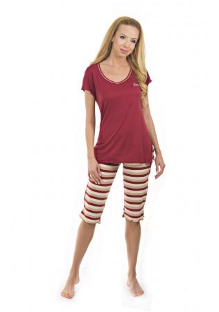 Дамска лятна пижама - бяло и червено райе