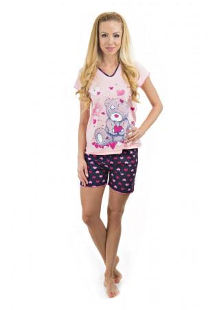 Дамска памучна лятна пижама-Bear and hearts