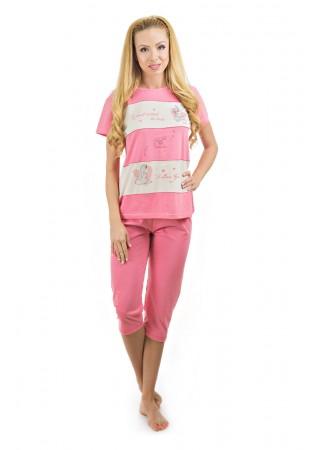 Дамска памучна лятна пижама-I love you