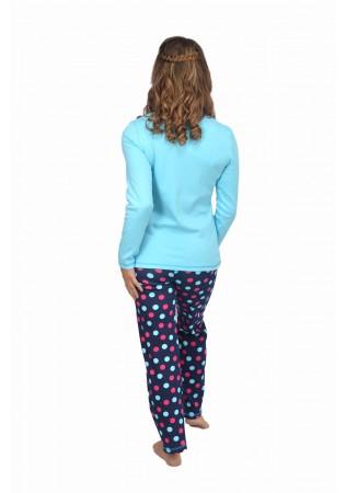 NEW Дамска памучна пижама Bunny-синьо-интерлог
