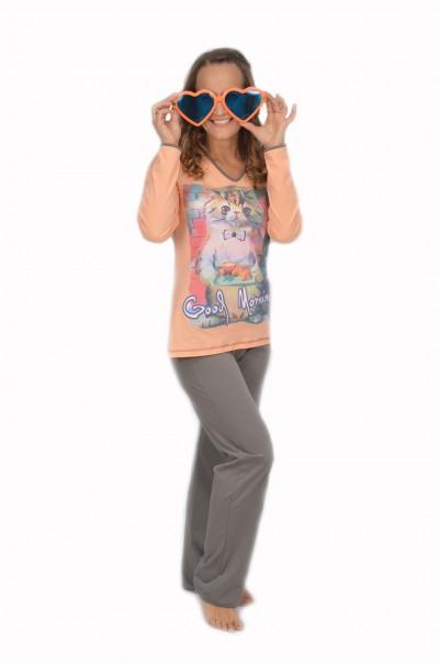 NEW Дамска памучна пижама-Good Morning