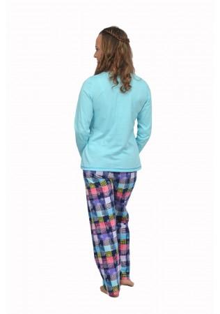 NEW Дамска памучна пижама-Sleep Time-синьо