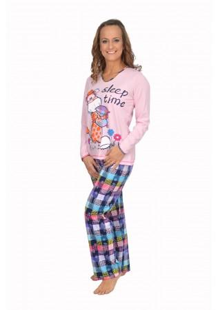 NEW Дамска памучна пижама-Sleep Time-розово