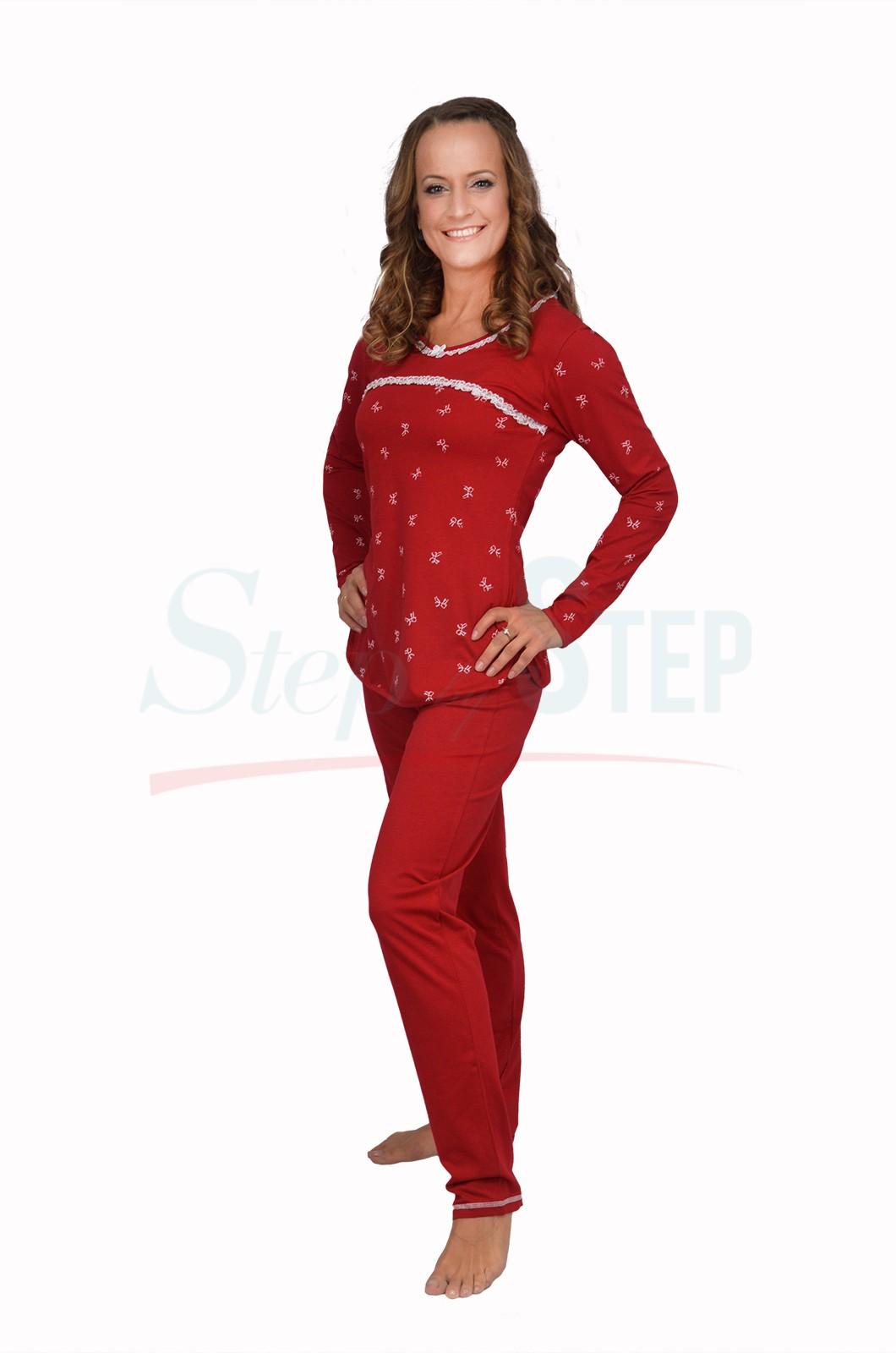 NEW Дамска памучна пижама Time to relax - червено с дантела