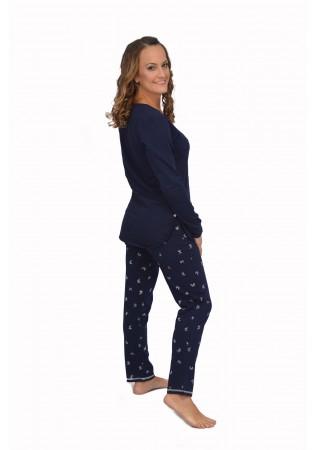 NEW Дамска памучна пижама Time to relax - тъмно син с панделки