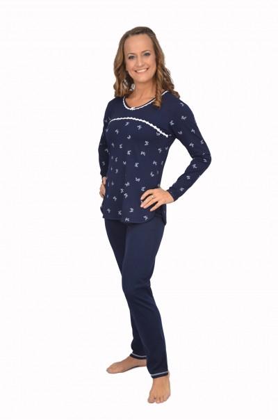NEW Дамска памучна пижама Time to relax - тъмно син с дантела
