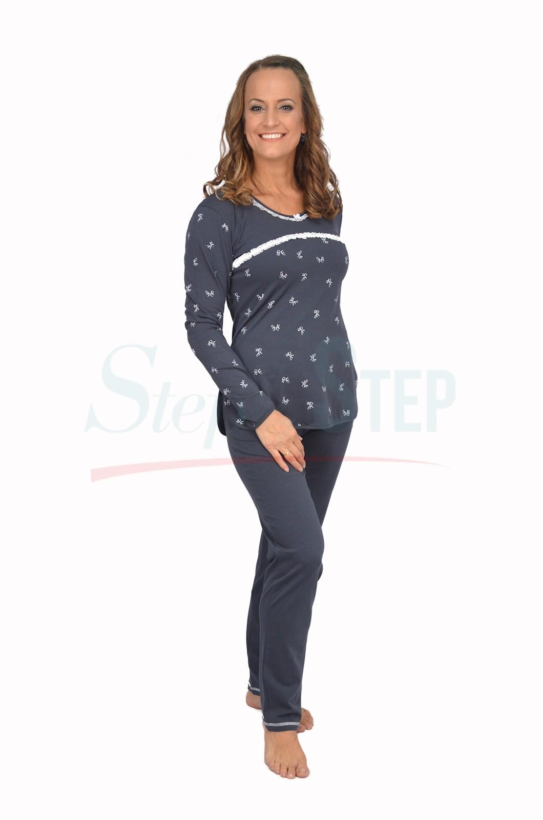 NEW Дамска памучна пижама Time to relax - сиво с дантела