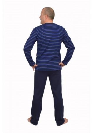 Мъжка памучна пижама интерлог-тъмно синьо