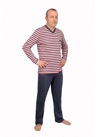 Мъжка памучна пижама червено райе