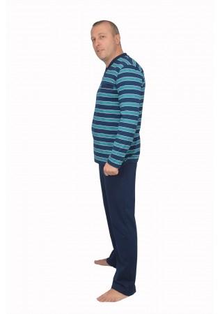 Мъжка памучна пижама зелено райе