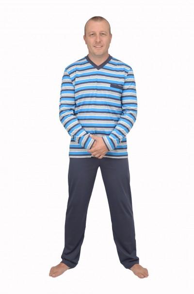 Мъжка памучна пижама синьо райе