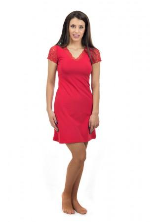 Луксозна памучна нощничка с дантелен къс ръкав - червено