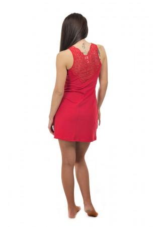 Дамска луксозна нощничка с дантелен гръб - червено
